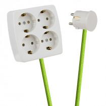 White 4-Way Socket Outlet Light Green