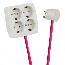 White 4-Way Socket Outlet Pink
