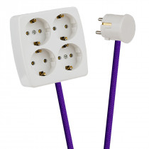 White 4-Way Socket Outlet Purple