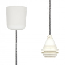 Pendant Lamp Plastic Off White-Black Netlike