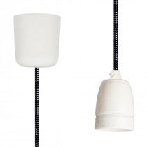 Pendant Lamp Porcelain Black-White Spots