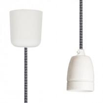 Pendant Lamp Porcelain Black-White Zig Zag