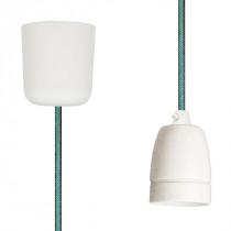 Pendant Lamp Porcelain Brown-Turquoise Netlike