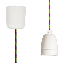 Pendant Lamp Porcelain Green-Cerise-Turquoise