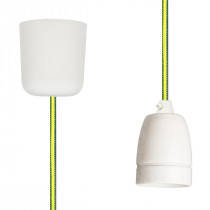 Pendant Lamp Porcelain Green-Yellow Netlike