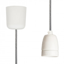 Pendant Lamp Porcelain Off White-Black Netlike