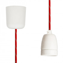 Pendant Lamp Porcelain Red-Gold Twist