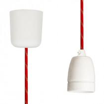 Pendant Lamp Porcelain Red-Gold Twist