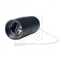 Plastic Lamp Holder E27 With Pull Switch Black