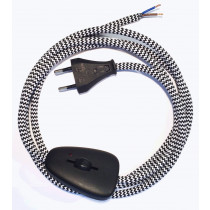 Assembled Supply Cord with Euro Plug and Dimmer Black-White Zig Zag 2 Core