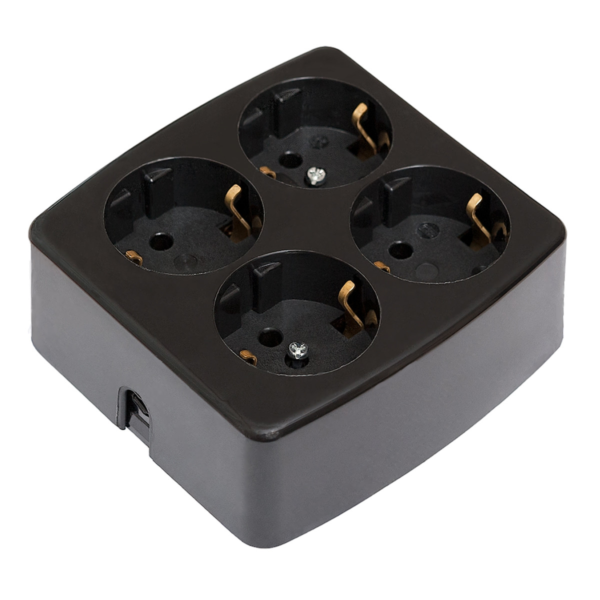 4 Socket Outlet Black
