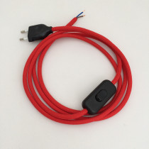 Assembled Supply Cord with Plug and Inline Cord Switch Red 2 Core 3m