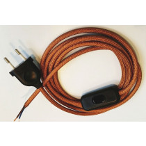 Assembled Supply Cord with Plug and Inline Cord Switch Copper 2 Core