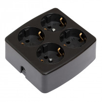 4 Socket Outlet Black