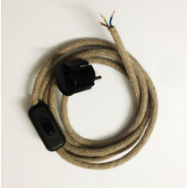 Assembled Supply Cord with Schuko Plug and Inline Cord Switch Linen 3 Core