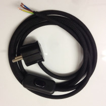 Assembled Supply Cord with Schuko Plug and Inline Cord Switch Black 3 Core 2m