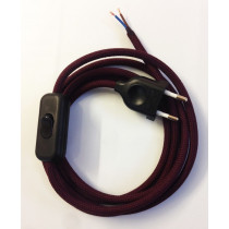 Assembled Supply Cord with Plug and Inline Cord Switch Wine Red 2 Core