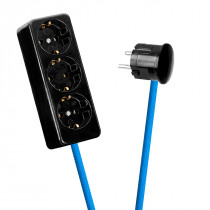 Black 3-Way Socket Outlet Blue-Turquoise
