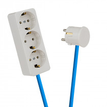 White 3-Way Socket Outlet Blue-Turquoise