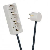 White 3-Way Socket Outlet Dark Grey Netlike