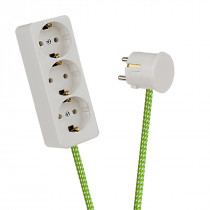 White 3-Way Socket Outlet Green-White Spots
