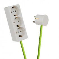 White 3-Way Socket Outlet Light Green