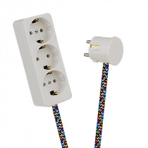 White 3-Way Socket Outlet Varicolored