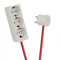 White 3-Way Socket Outlet Red-White Spots