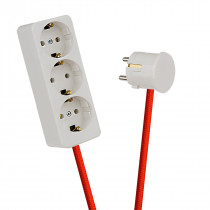 White 3-Way Socket Outlet Rust Red