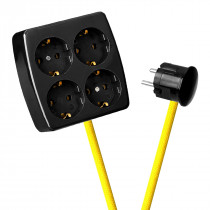 Black 4-Way Socket Outlet Empire Yellow