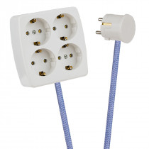 White 4-Way Socket Outlet Lilac