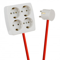 White 4-Way Socket Outlet Rust Red