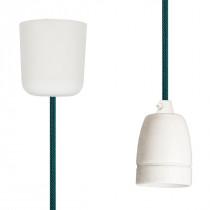 Pendant Lamp Porcelain Turquoise-Black Netlike