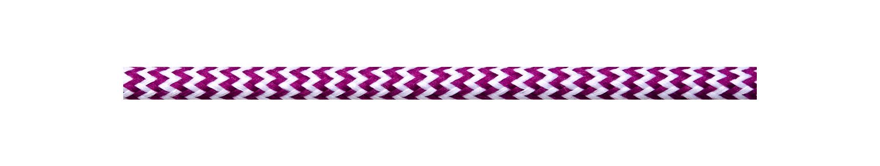 Textile Cable White-Cerise Zig Zag