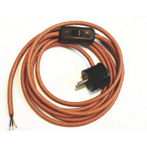 Assembled Supply Cord with Schuko Plug and Inline Cord Switch Copper 3 Core