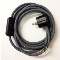 Assembled Supply Cord with Schuko Plug and Inline Cord Switch Dark Grey 3 Core