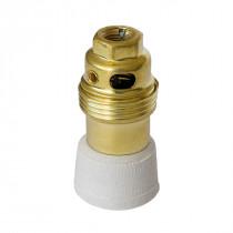 Brass/Porcelain Lamp Holder E14 Glazed
