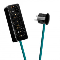 Black 3-Way Socket Outlet Turquoise