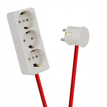 White 3-Way Socket Outlet Red