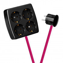 Black 4-Way Socket Outlet Cerise