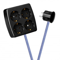 Black 4-Way Socket Outlet Lilac