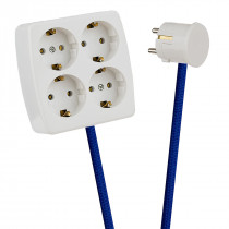 White 4-Way Socket Outlet Blue