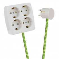 White 4-Way Socket Outlet Green-White Spots