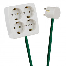 White 4-Way Socket Outlet Green