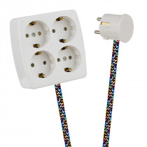 White 4-Way Socket Outlet Varicolored
