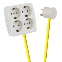 White 4-Way Socket Outlet Empire Yellow