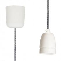 Pendant Lamp Porcelain Shiny White-Black Netlike