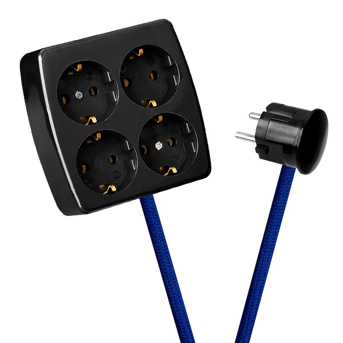 Black 4-Way Socket Outlet Blue