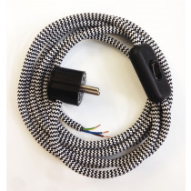 Assembled Supply Cord with Plug and Inline Cord Switch Black-White Zig Zag 3 Core