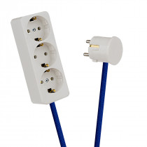 White 3-Way Socket Outlet Blue